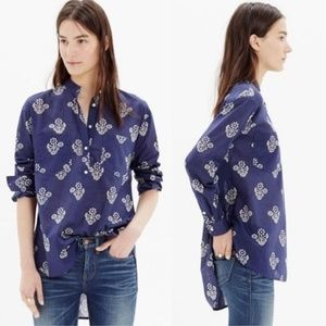 Madewell Collarless Popover in Flowerstamp Blue S